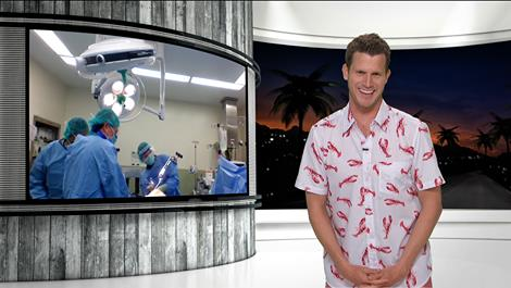 Tosh.O in lobster shirt